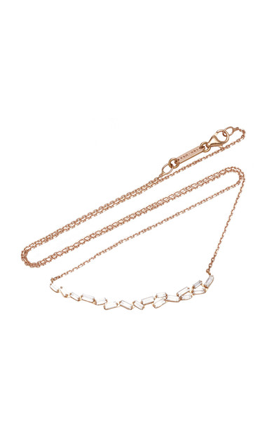 Suzanne Kalan 18K Rose Gold Diamond Necklace in white