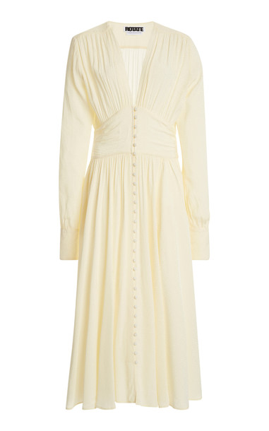 ROTATE Tracy Button-Front Crepe Midi Dress in white