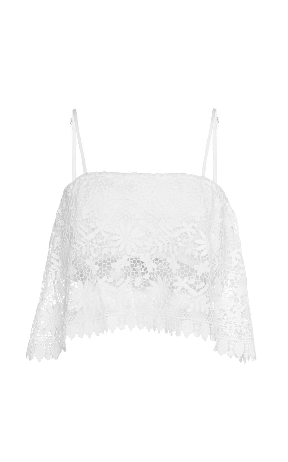 Miguelina Cada Cropped Linen Lace Top in white