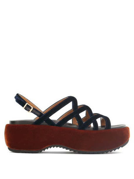 Marni - Velvet And Leather Flatform Sandals - Womens - Navy Multi