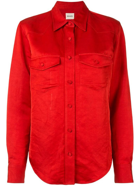 Khaite Ishani patch pocket top in red