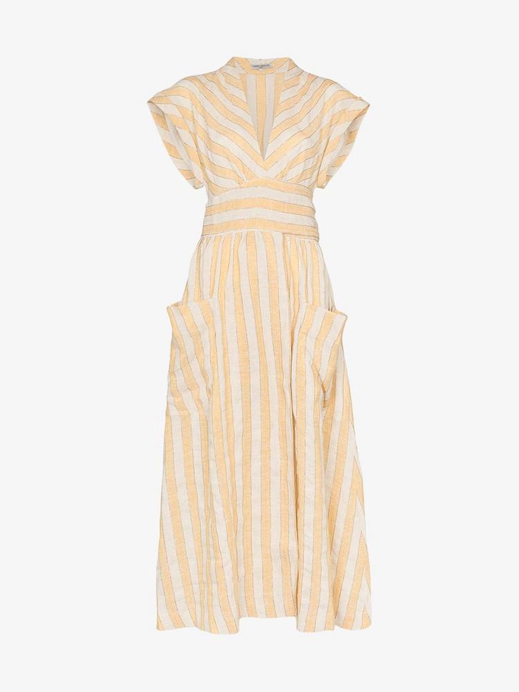 Three Graces Clarissa striped tie-waist dress in neutrals