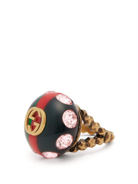 Gucci - Crystal Encrusted Gg Logo Ring - Womens - Green