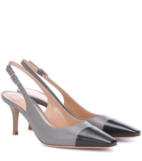 Gianvito Rossi Exclusive to Mytheresa – Lucy 70 leather slingback pumps in grey