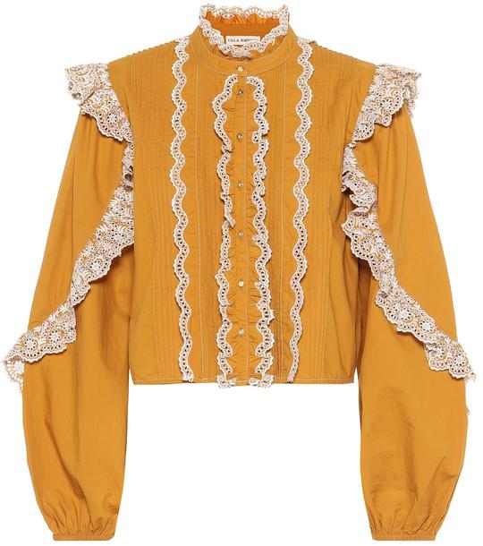 Ulla Johnson Adelaide ruffled cotton blouse in yellow