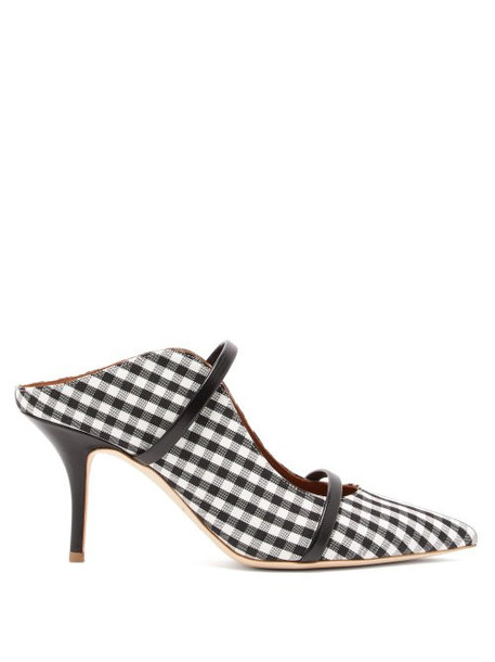 Malone Souliers - Maureen Gingham Mules - Womens - Black White