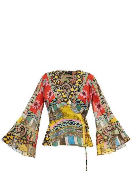 Etro - Suffolk Patchwork Print Silk Blouse - Womens - Yellow Multi
