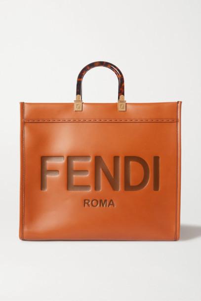 Fendi - Sunshine Shopper Logo-embossed Leather Tote - Brown