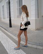 shoes,ballet flats,black bag,chanel bag,black shorts,leather shorts,jacket