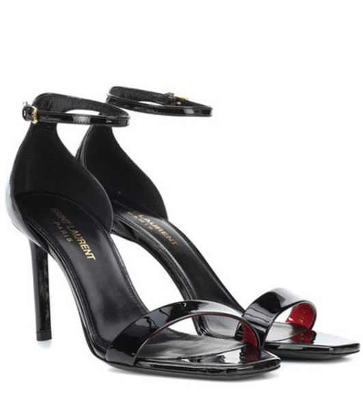 Saint Laurent Amber 85 patent leather sandals in black