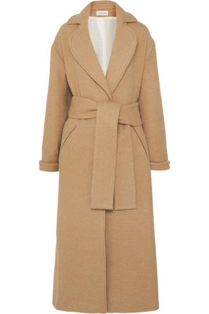 King & Tuckfield - Oversized Belted Wool-blend Coat - Camel