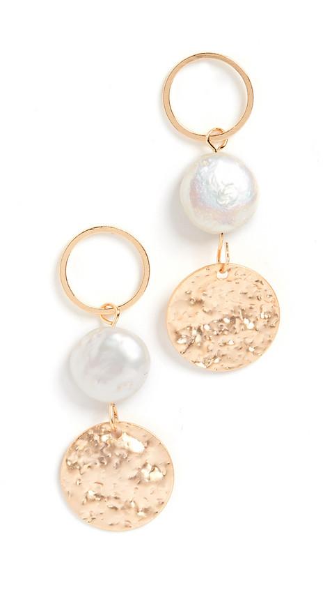 Jules Smith Pearl Disc Drop Earrings in gold