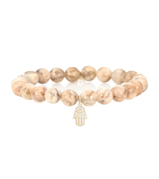 Sydney Evan Small Hamsa beaded feldspar bracelet with 14kt gold and diamond charm in pink