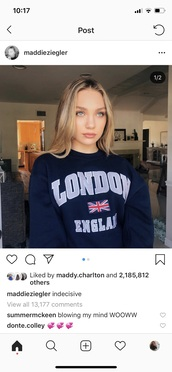 sweater,Maddie ziegler,london,navy,blue,white,union jack,crewneck,sweatshirt