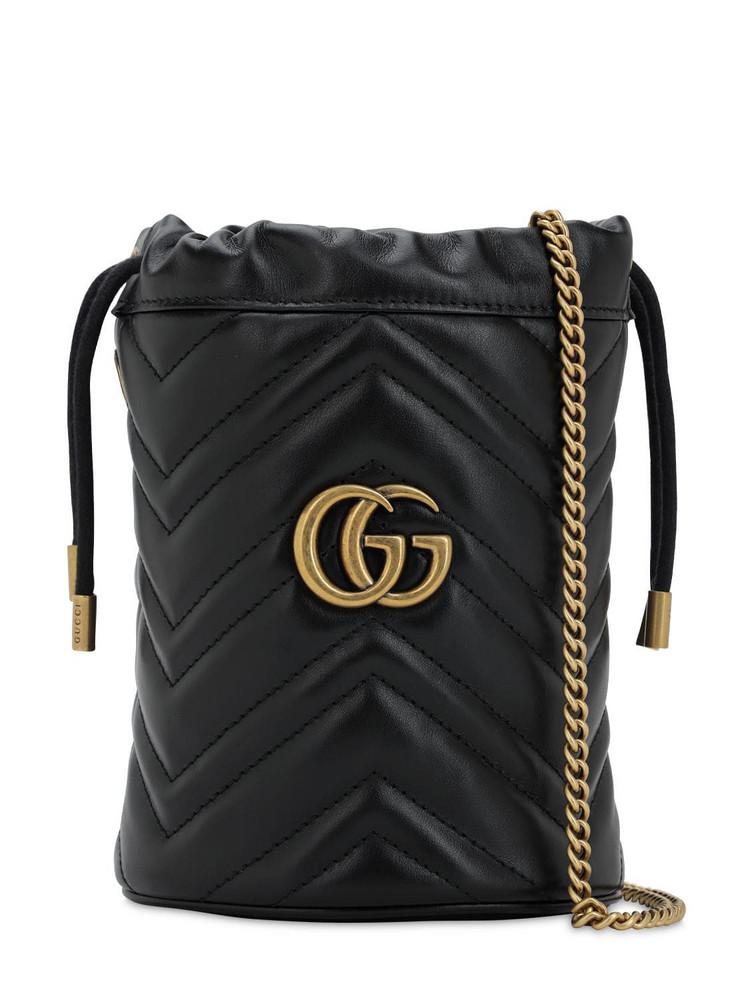 GUCCI Mini Gg Marmont 2.0 Leather Bucket Bag in black
