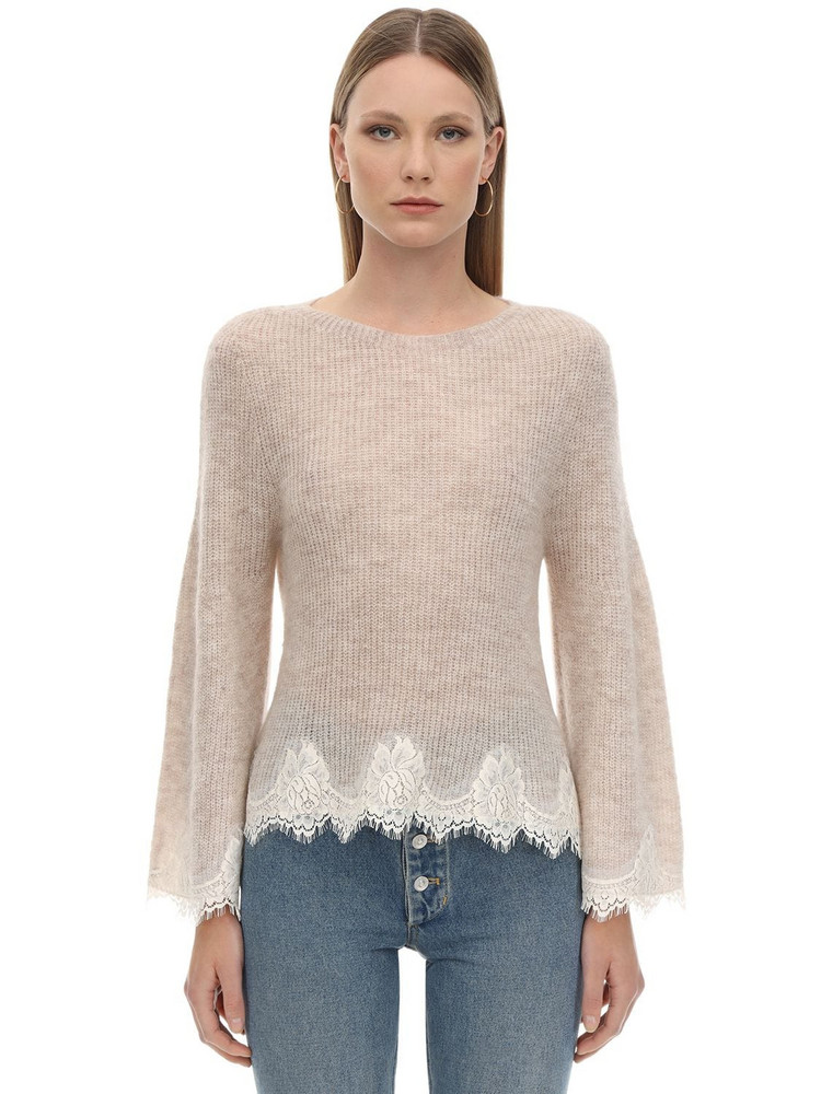 PINK MEMORIES Mohair Blend Lace Knit Sweater in ivory