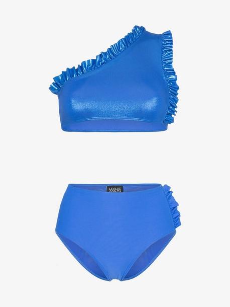 Leslie Amon tamini ruffle detail bikini in blue