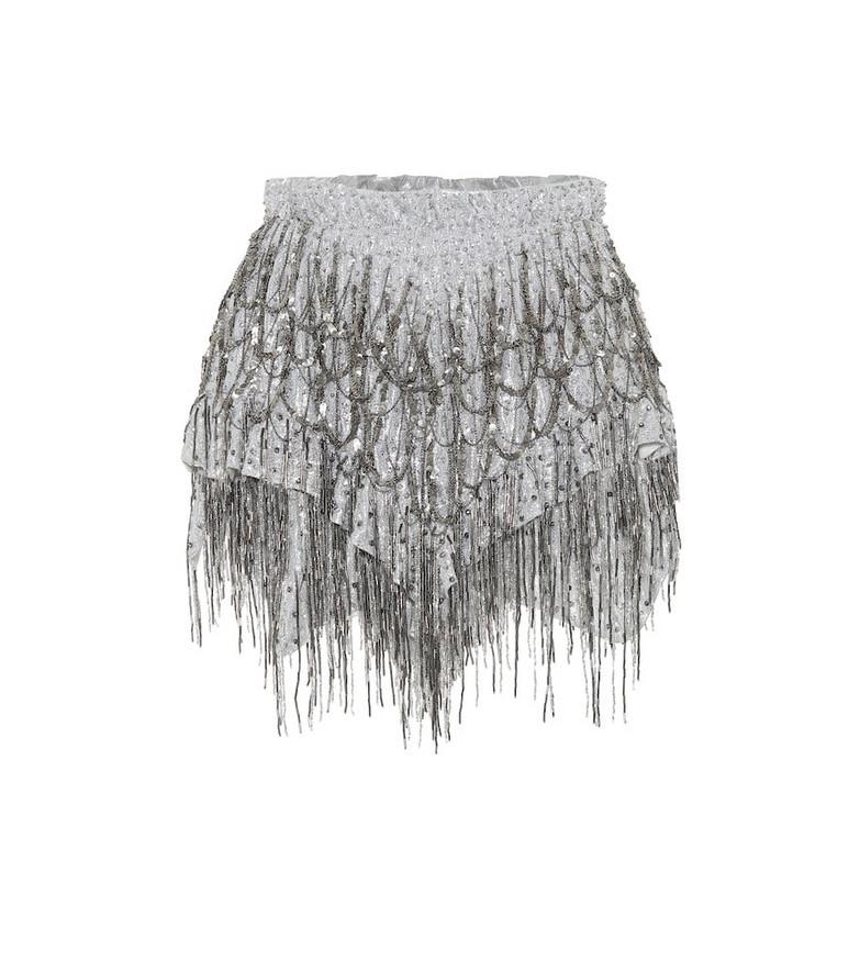 Isabel Marant Zulina embellished silk shorts in silver