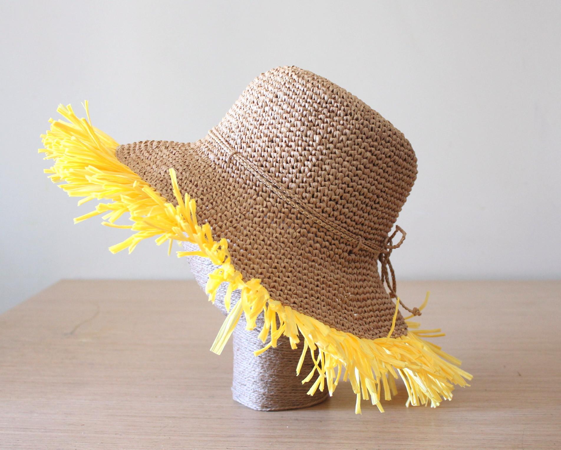 hat sun hat raffia hat fringes straw sun hat crochet hat womens hat
