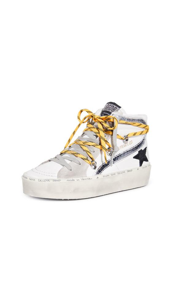 Golden Goose Hi Slide Sneakers in white / yellow