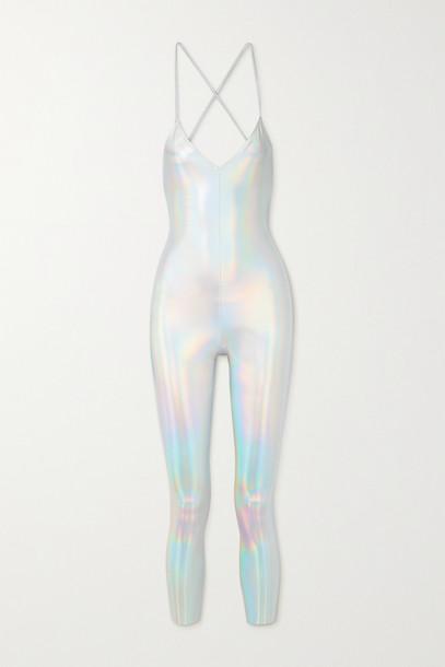 NORMA KAMALI - Fara Open-back Iridescent Coated Stretch-jersey Jumpsuit - Silver