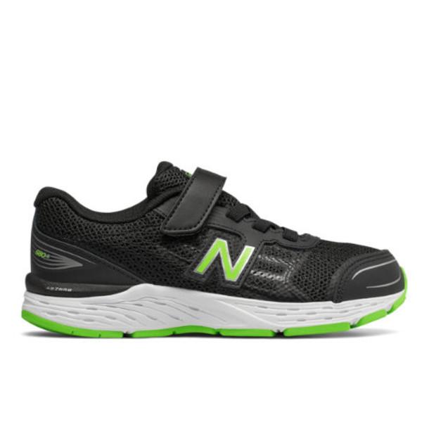 New Balance 680v5 Kids Grade School Running Shoes - Black/Green (YA680BG)