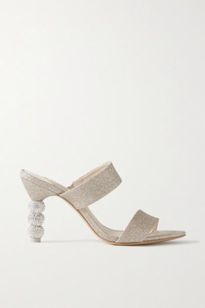 Sophia Webster - Rosalind Crystal-embellished Glittered-satin Mules - Gold