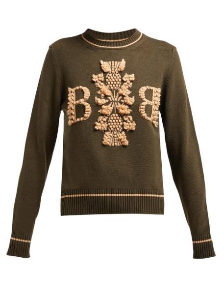 Barrie - Thistle League Bouclé Intarsia Cashmere Sweater - Womens - Green Multi