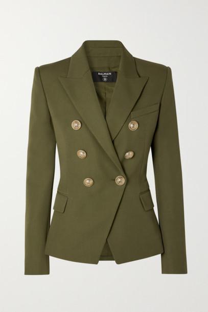 Balmain - Double-breasted Wool Blazer - Army green