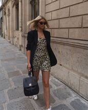 dress,mini dress,floral dress,sleeveless dress,black blazer,white sneakers,black backpack,chanel
