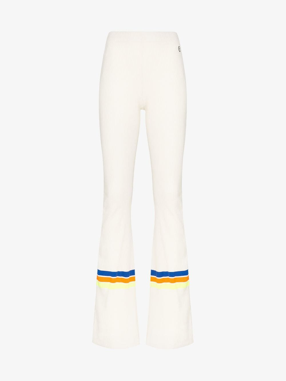 Filles A Papa High-waisted ribbed flared trousers in white