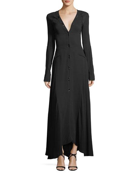 Nina Ricci Long-Sleeve Button-Down Cady Maxi Dress