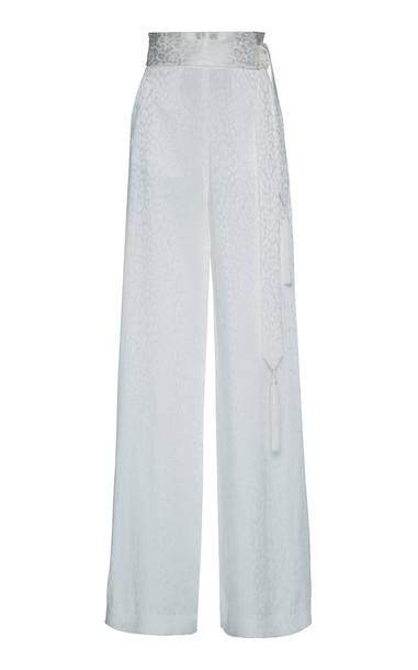 Dundas High-Waisted Wide Leg Satin Jacquard Pants in white