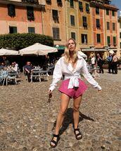 shorts,pink shorts,High waisted shorts,jacquemus,flat sandals,white blouse