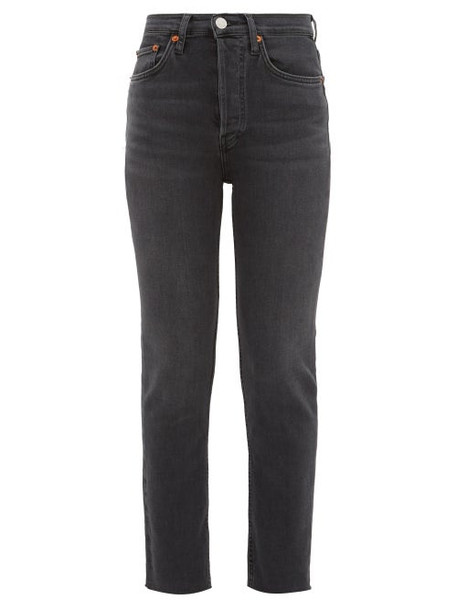 Re/done Originals - High Rise Cropped Skinny Jeans - Womens - Dark Grey