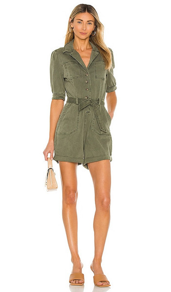 PAIGE Mayslie Romper in Army in green