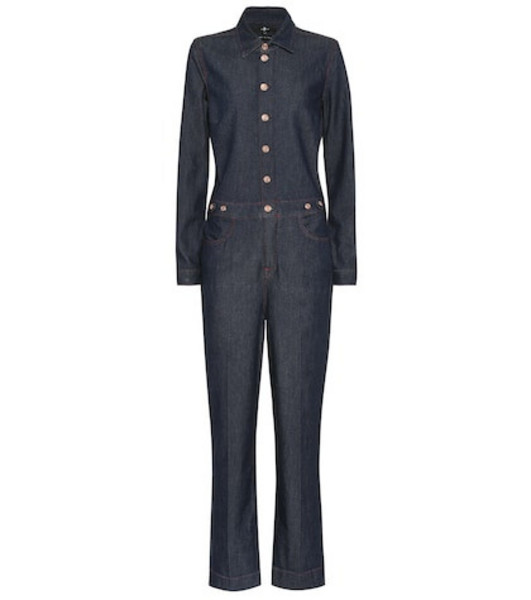 7 For All Mankind Utility stretch cotton jumpsuit in blue