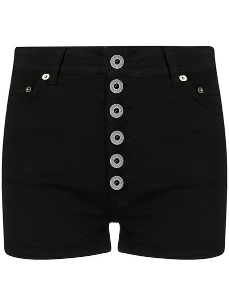 Dondup high-waisted denim shorts in black
