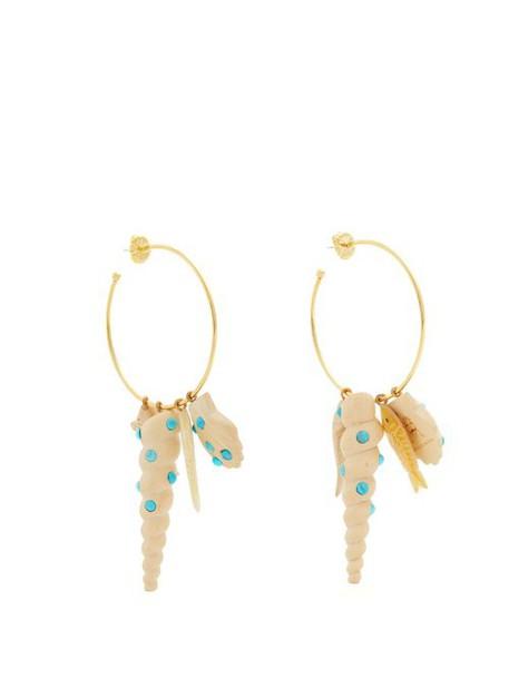 Rebecca De Ravenel - Tallulah Charm Hoop Earrings - Womens - Cream Multi
