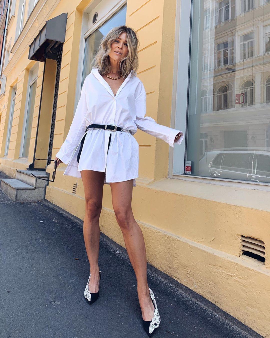 shoes mules embellished white shirt