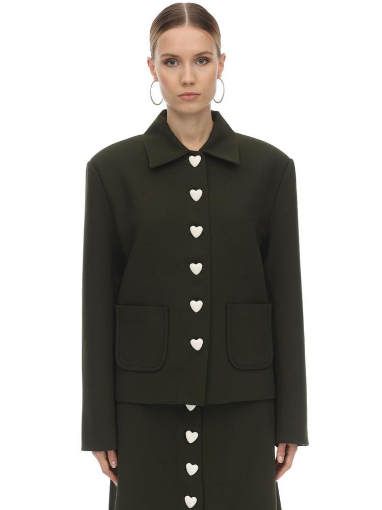 GEORGE KEBURIA Heart Button Crepe Blazer Jacket in green