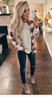 top,flannel shirt,plaid,green,red,outfit
