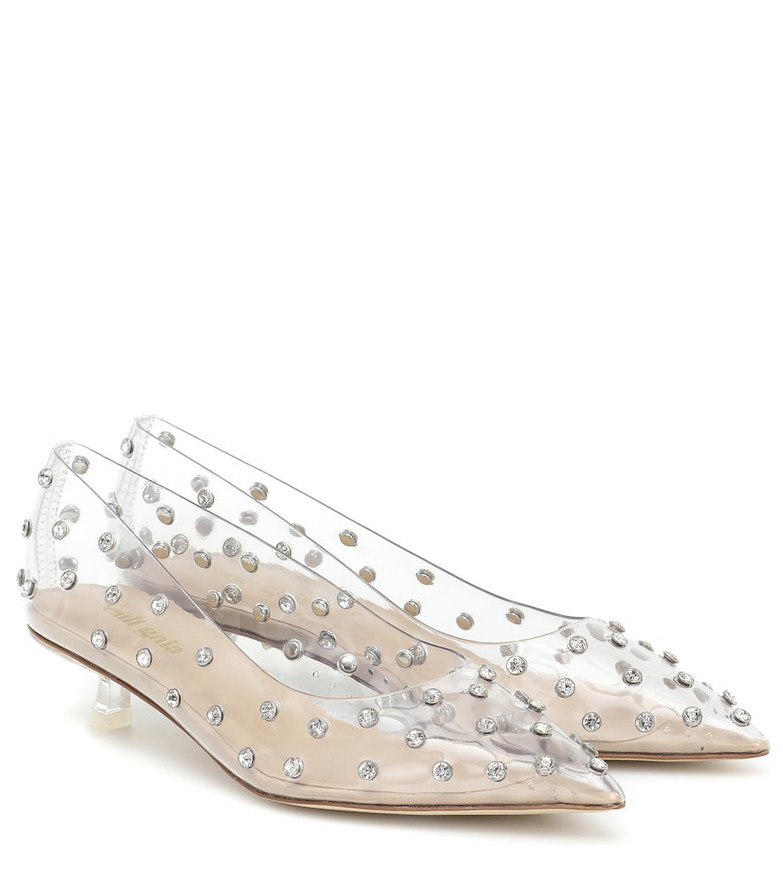 Cult Gaia Roxy crystal-embellished PVC pumps in silver