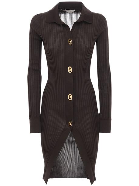 BOTTEGA VENETA Cotton & Silk Knit Long Cardigan in brown
