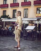 dress,maxi dress,floral dress,slide shoes,h&m,blazer,dior bag