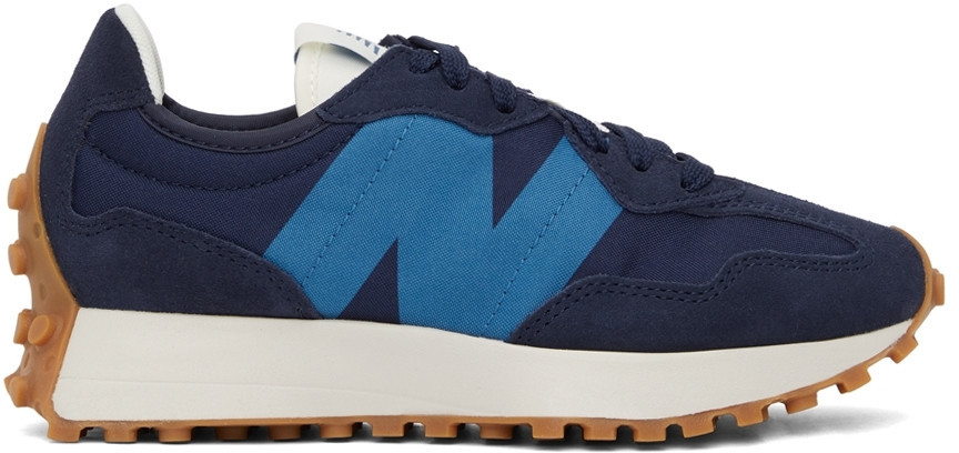 New Balance Navy & Blue 327 V1 Low Sneakers in gold