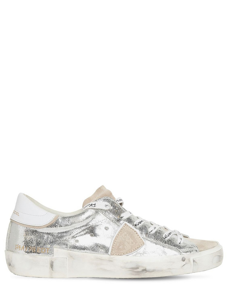 PHILIPPE MODEL Paris Leather & Suede Sneakers in silver