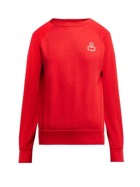 Isabel Marant Étoile Isabel Marant étoile - Milly Logo Print Cotton Blend Sweatshirt - Womens - Red